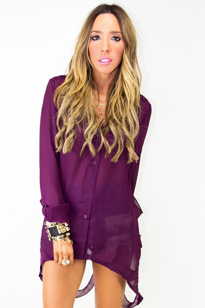 COLUMBUS CUTOUT CHIFFON BLOUSE