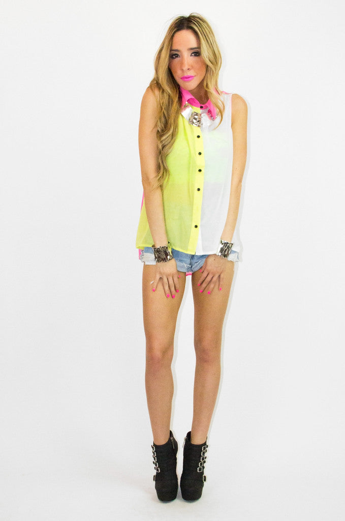 SLEEVELESS MULTICOLOR CHIFFON BLOUSE