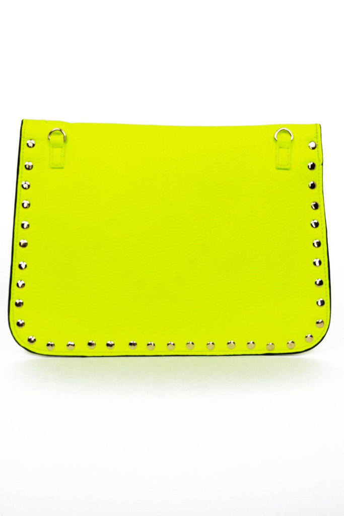 GOLD STUDDED BORDER ENVELOPE CLUTCH - Neon Yellow - Haute & Rebellious