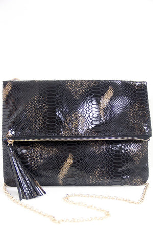 CROCODILE SKIN OVERSIZED ENVELOPE CLUTCH - Haute & Rebellious