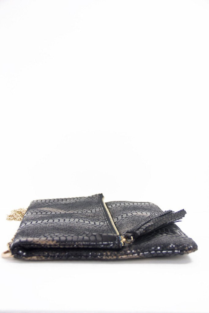 CROCODILE SKIN OVERSIZED ENVELOPE CLUTCH