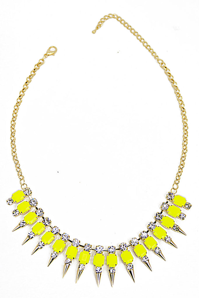 SPIKE CRYSTAL NECKLACE - Neon Yellow/Gold