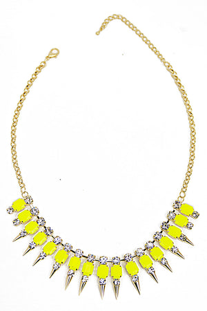 SPIKE CRYSTAL NECKLACE - Neon Yellow/Gold - Haute & Rebellious