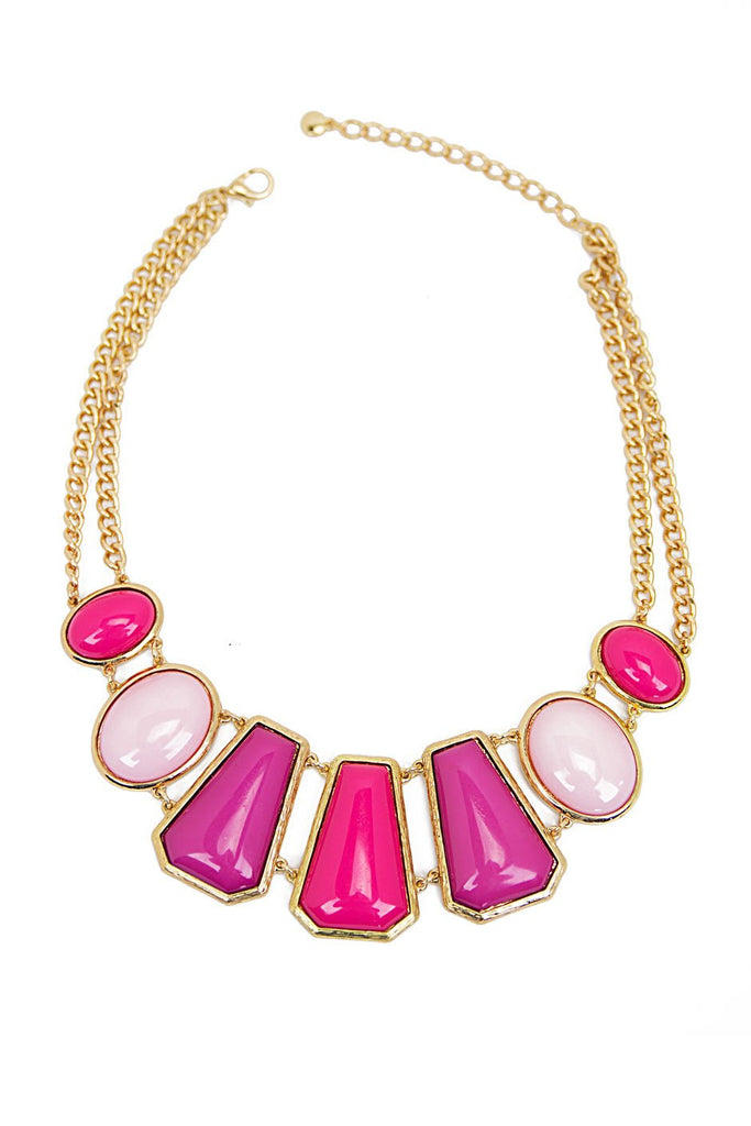 MULTI STONE NECKLACE - Fuchsia (Final Sale)