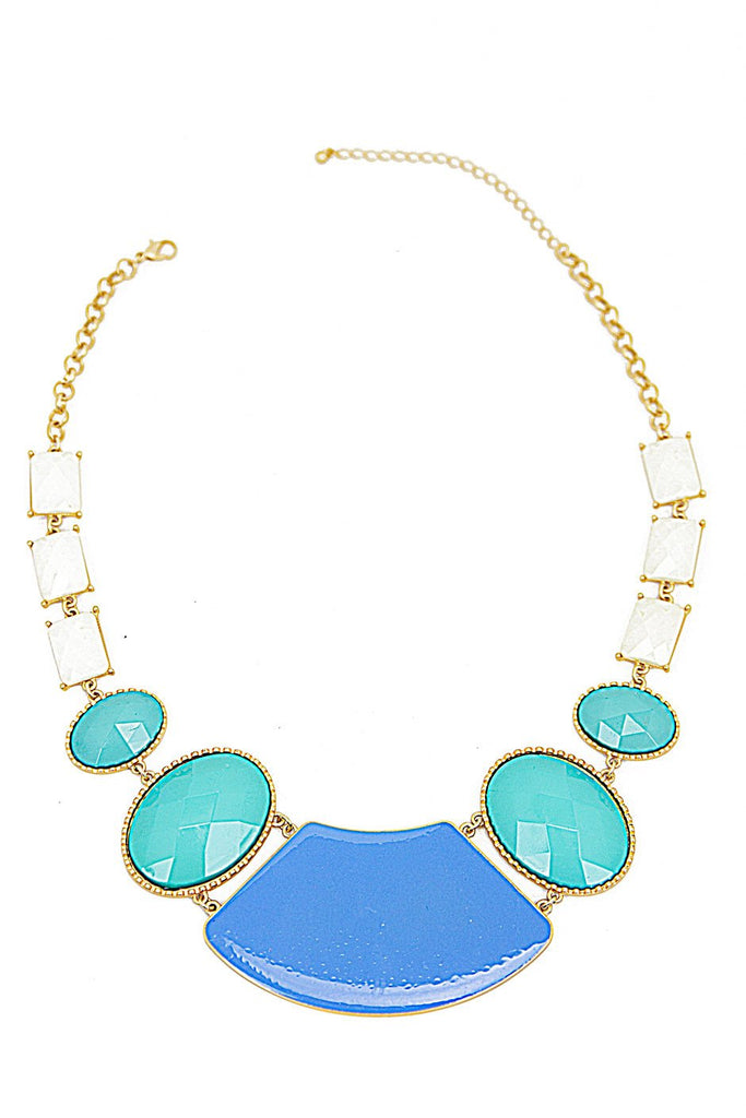 BIG STONE NECKLACE - Mint/Blue