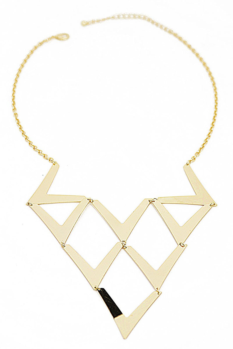 CUTOUT TRIANGLE NECKLACE - Gold - Haute & Rebellious