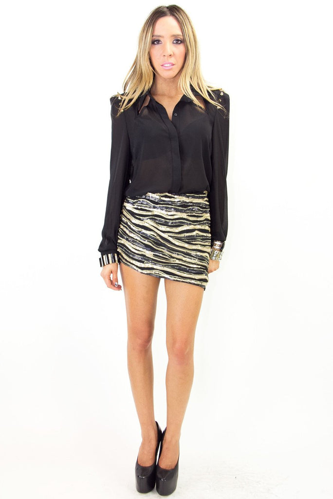 HEART & SOUL SEQUIN SKIRT - Black/Gold