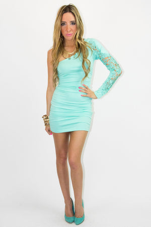 ONE SHOULDER DRESS WITH LACE - Mint - Haute & Rebellious