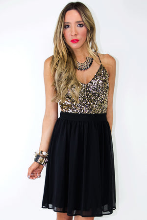 OPEN BACK DRESS - Black/Gold - Haute & Rebellious