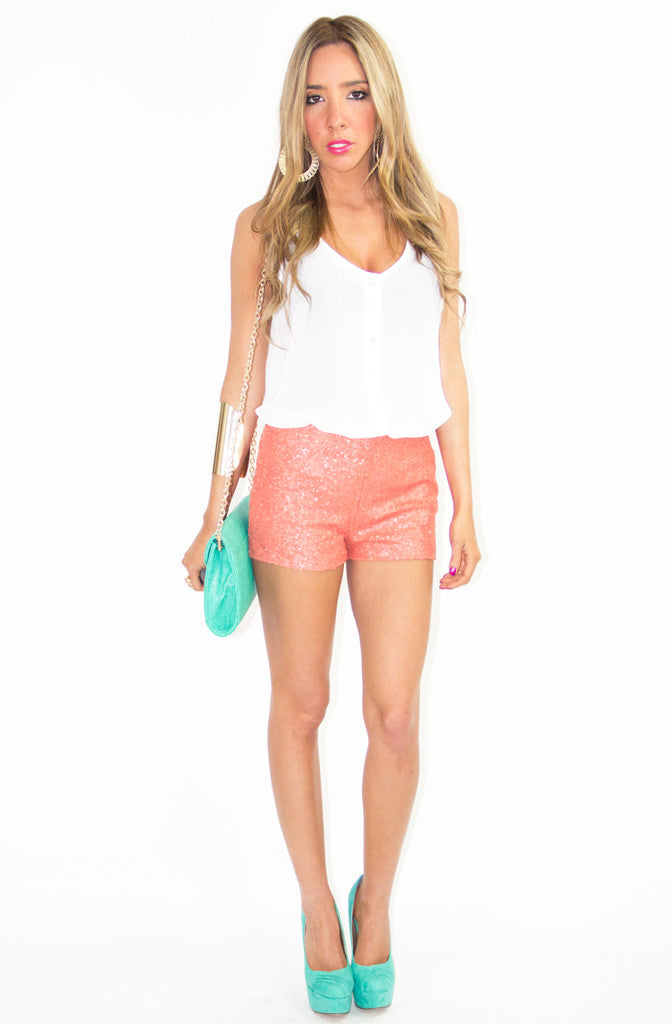 ORANGE SEQUIN SHORTS