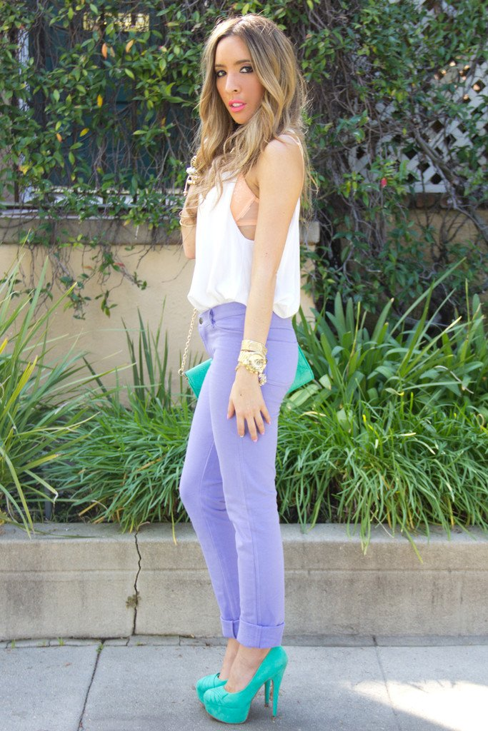 CONNIE SOFT SKINNY PANT - Purple