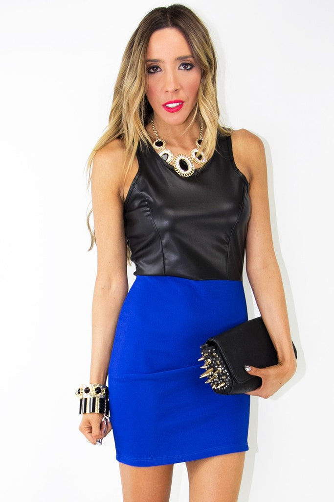 LEATHER CONTRAST DRESS -  Electric Blue/Black