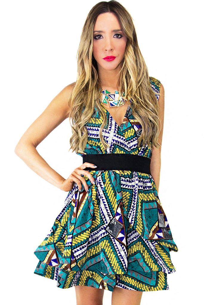 TRIBAL LAYERS FULL DRESS WITH ELASTIC WAISTBAND (Final Sale)
