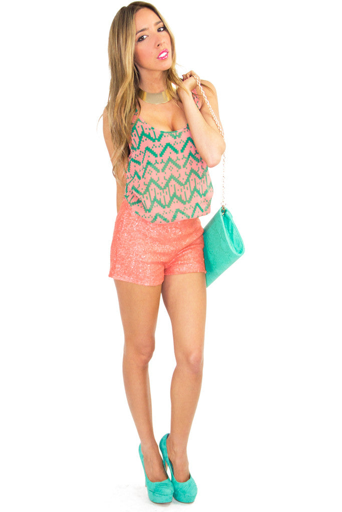TRIBAL PEACH BLOUSE WITH CUTOUT