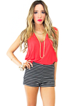 STRIPED HIGH WAISTED SHORTS - Navy/White - Haute & Rebellious
