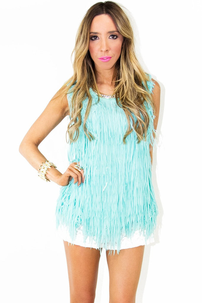 ALL OVER FRINGED TOP - Mint (Final Sale)