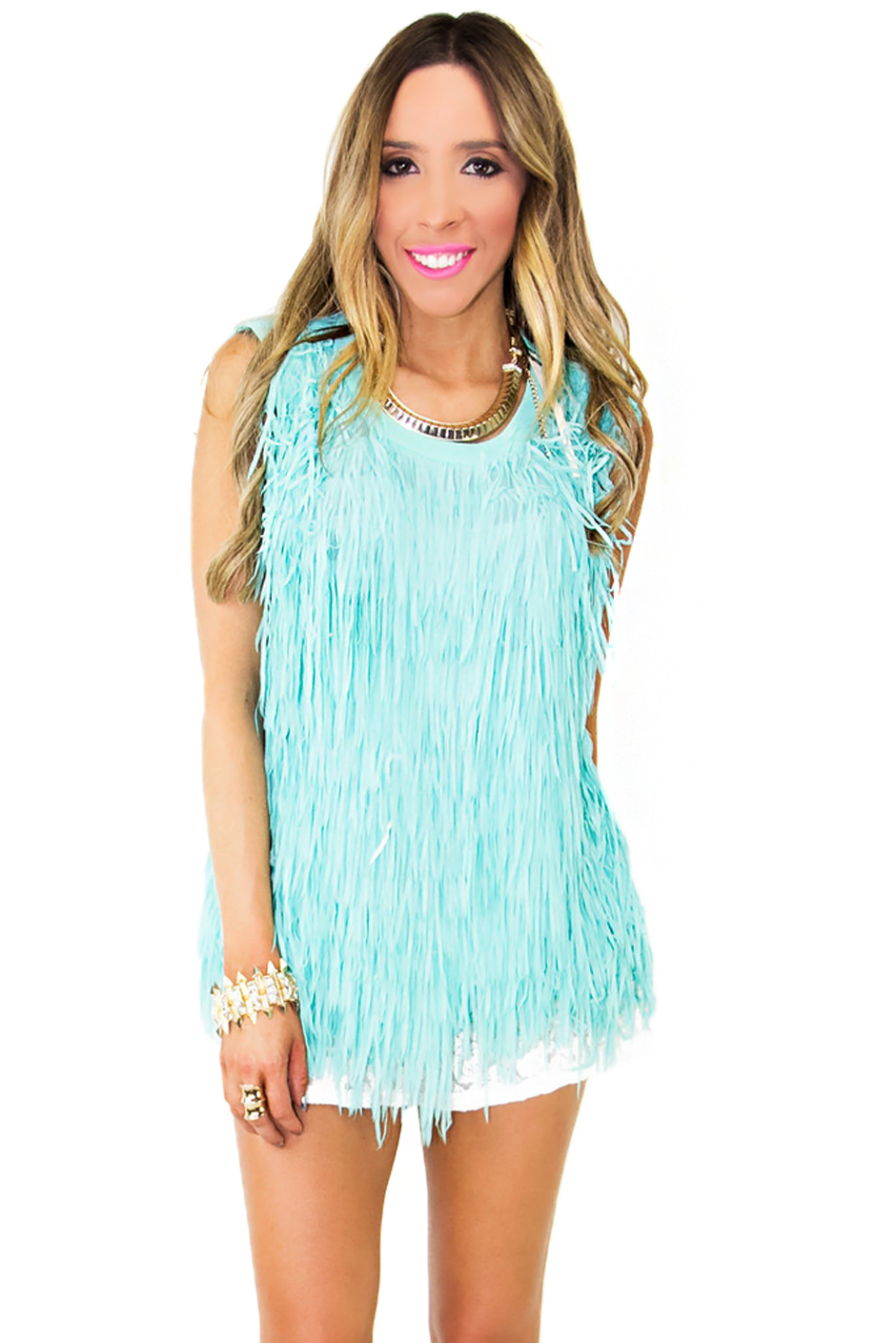 ALL OVER FRINGED TOP - Mint (Final Sale) - Haute & Rebellious