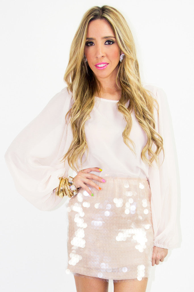 OVERSIZED SEQUIN SKIRT - Beige
