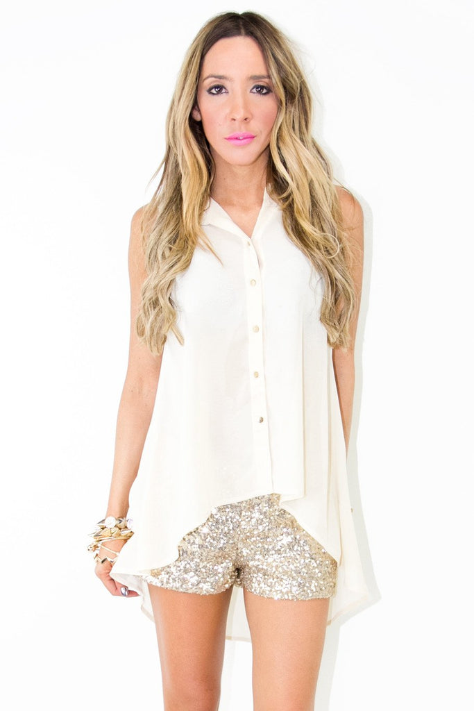 GOLD SEQUIN SHORTS WITH ZIPPER