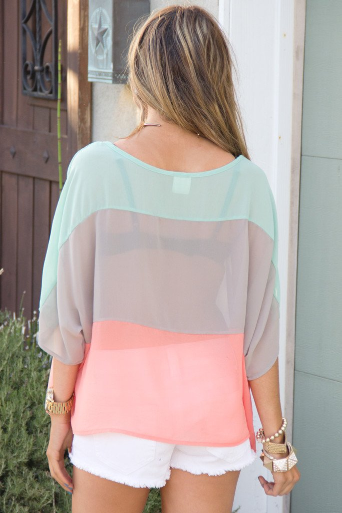 COLOR BLOCK CHIFFON BLOUSE - Mint/Peach