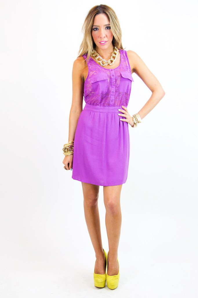 CONTRAST LACE DRESS - Purple
