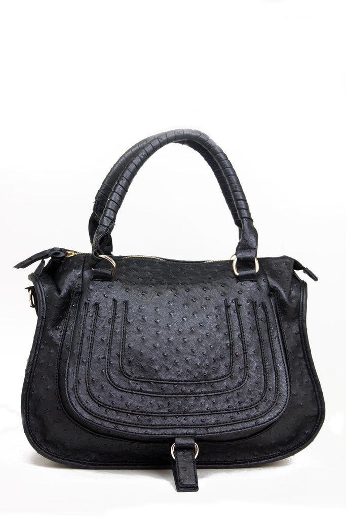TEXTURED BAG WITH STRAP - Black