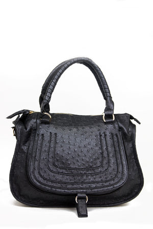 TEXTURED BAG WITH STRAP - Black - Haute & Rebellious