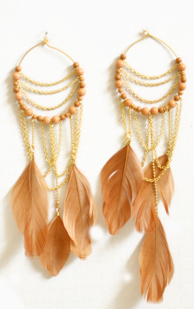 TAUPE ZOE FEATHER EARRINGS- sold out