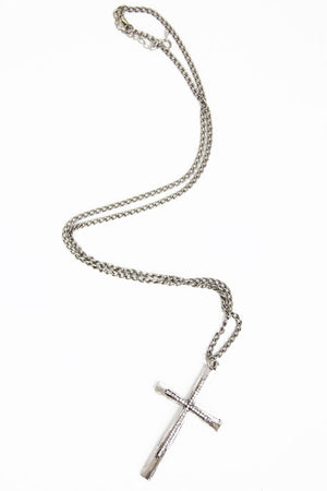 SILVER LONG CHAIN CROSS NECKLACE - Haute & Rebellious