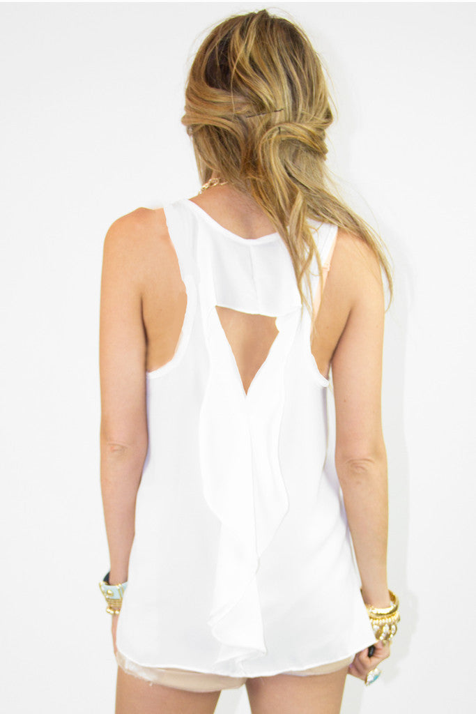 ONE POCKET TANK TOP WITH BACK RUFFLE