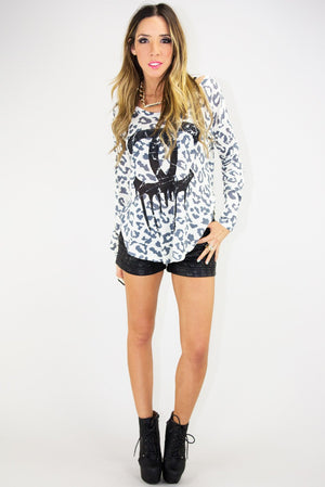 DRIPPING CHANEL LONG SLEEVE TOP - White - Haute & Rebellious