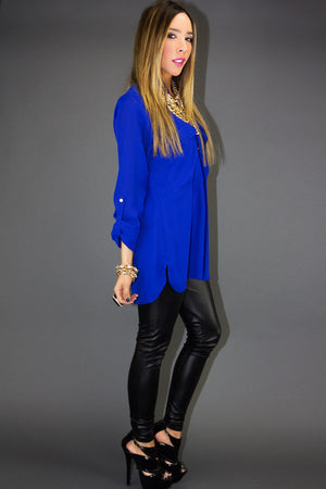 ELECTRIC ROYAL BLUE CHIFFON BLOUSE - Haute & Rebellious