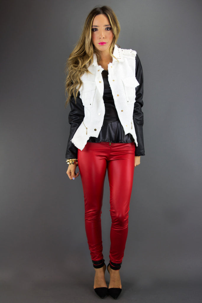 WHITE TWEED JACKET WITH BLACK LEATHER CONTRAST SLEEVES