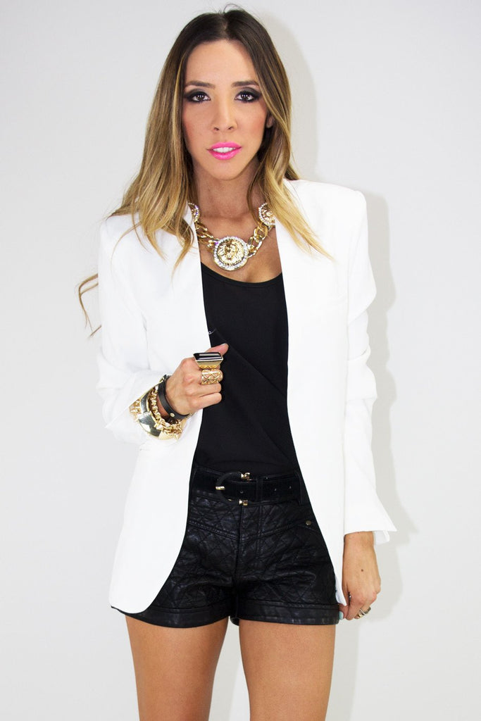 LONG FITTED BLAZER - White