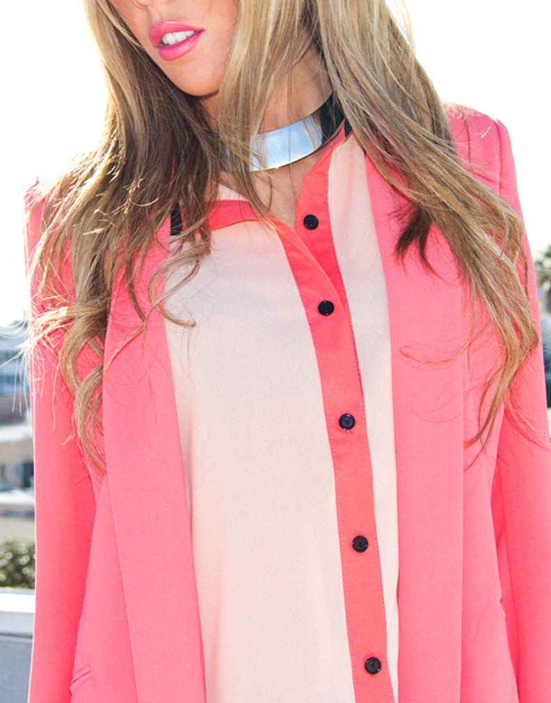 PEACH SIDE POCKET BLOUSE