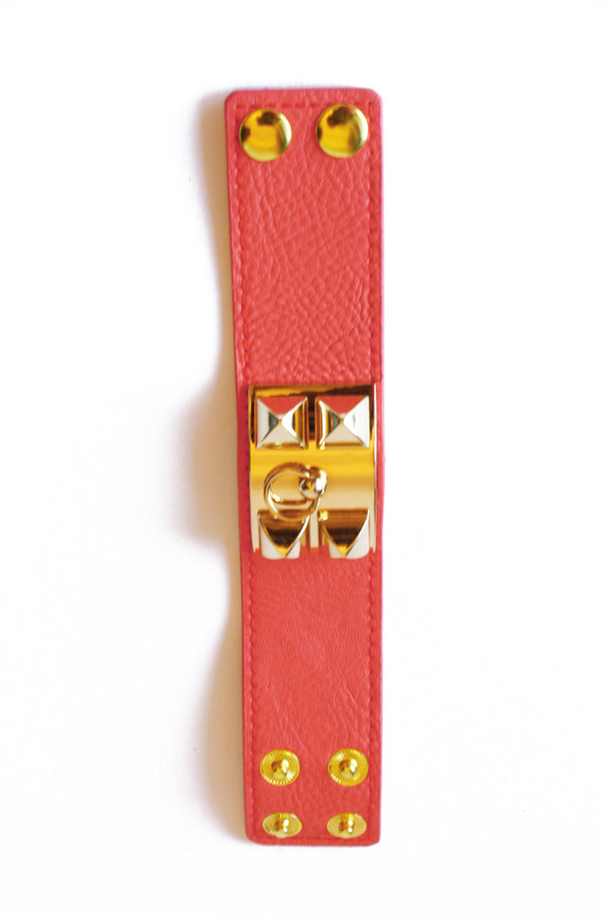 PEACH STUDDED LEATHER BRACELET
