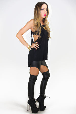 TWISTED STRAP OPEN BACK TOP - Black - Haute & Rebellious