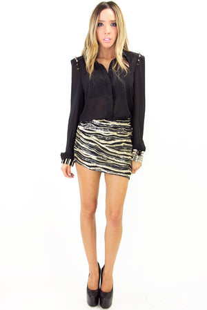ELISA SPIKE BLOUSE - Black/Gold (Final Sale) - Haute & Rebellious