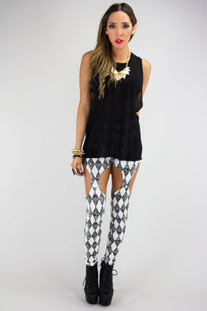 CUTOUT CHECKERED LEGGINGS - Black/White - Haute & Rebellious