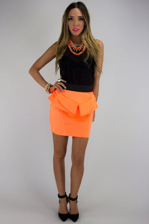 NEON PEPLUM SKIRT - Orange - Haute & Rebellious