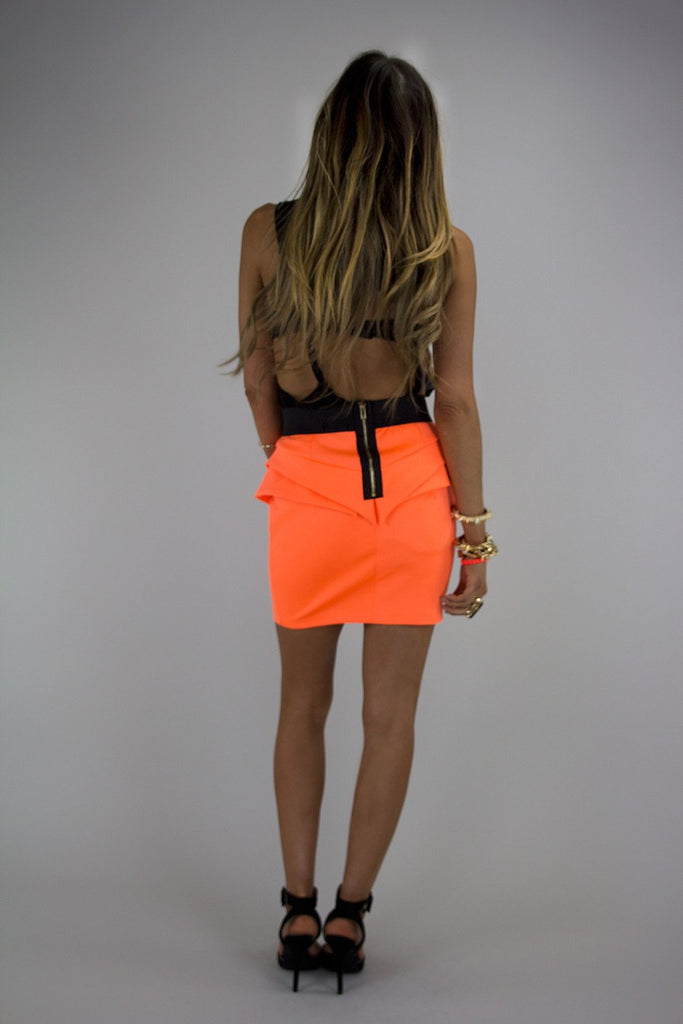 NEON PEPLUM SKIRT - Orange