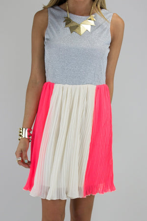 A POP OF NEON PLEATED DRESS - Haute & Rebellious