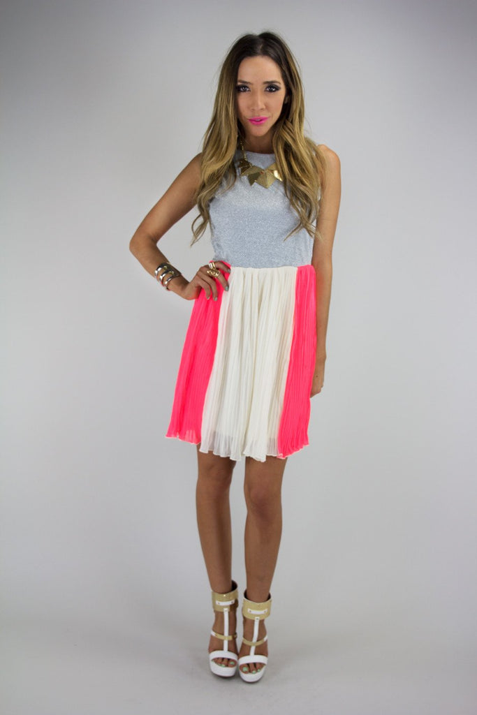 A POP OF NEON PLEATED DRESS