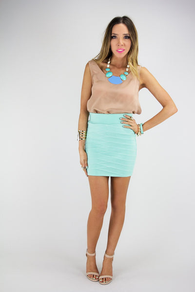 MINI PENCIL SKIRT - Mint - Haute & Rebellious