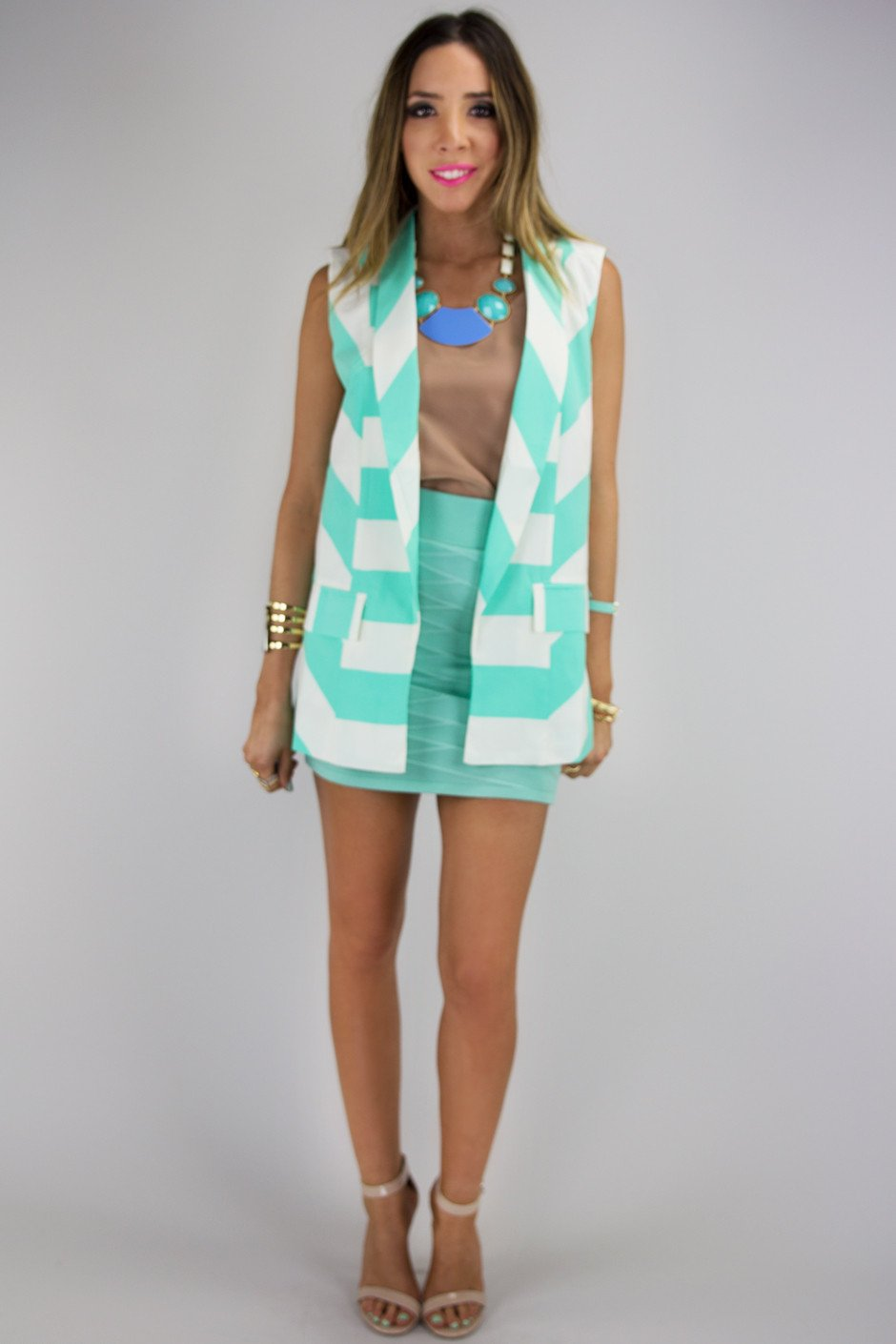 ALLIE CHEVRON PATTERN VEST - Haute & Rebellious