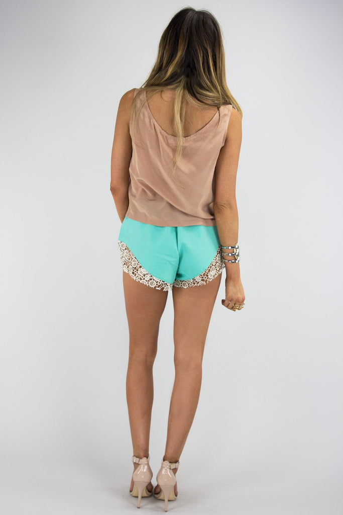 CAITLIN CROCHET DETAIL SHORTS - Mint