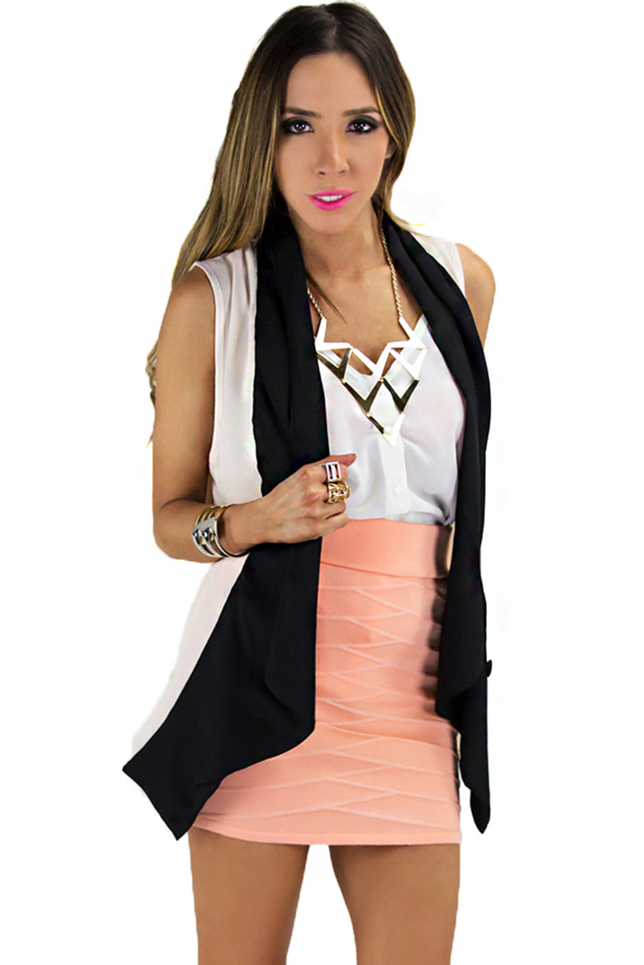 TWO COLOR CONTRAST ONE BUTTON VEST - Haute & Rebellious