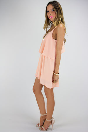 RUFFLE LAYER DRESS - Peach - Haute & Rebellious