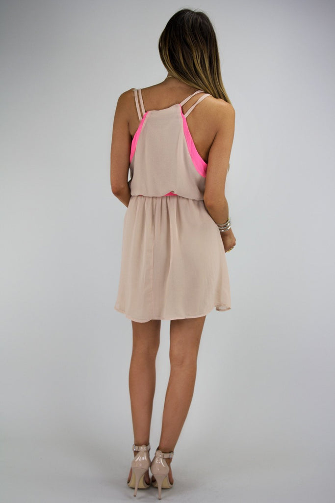 NEON BORDER CHIFFON DRESS