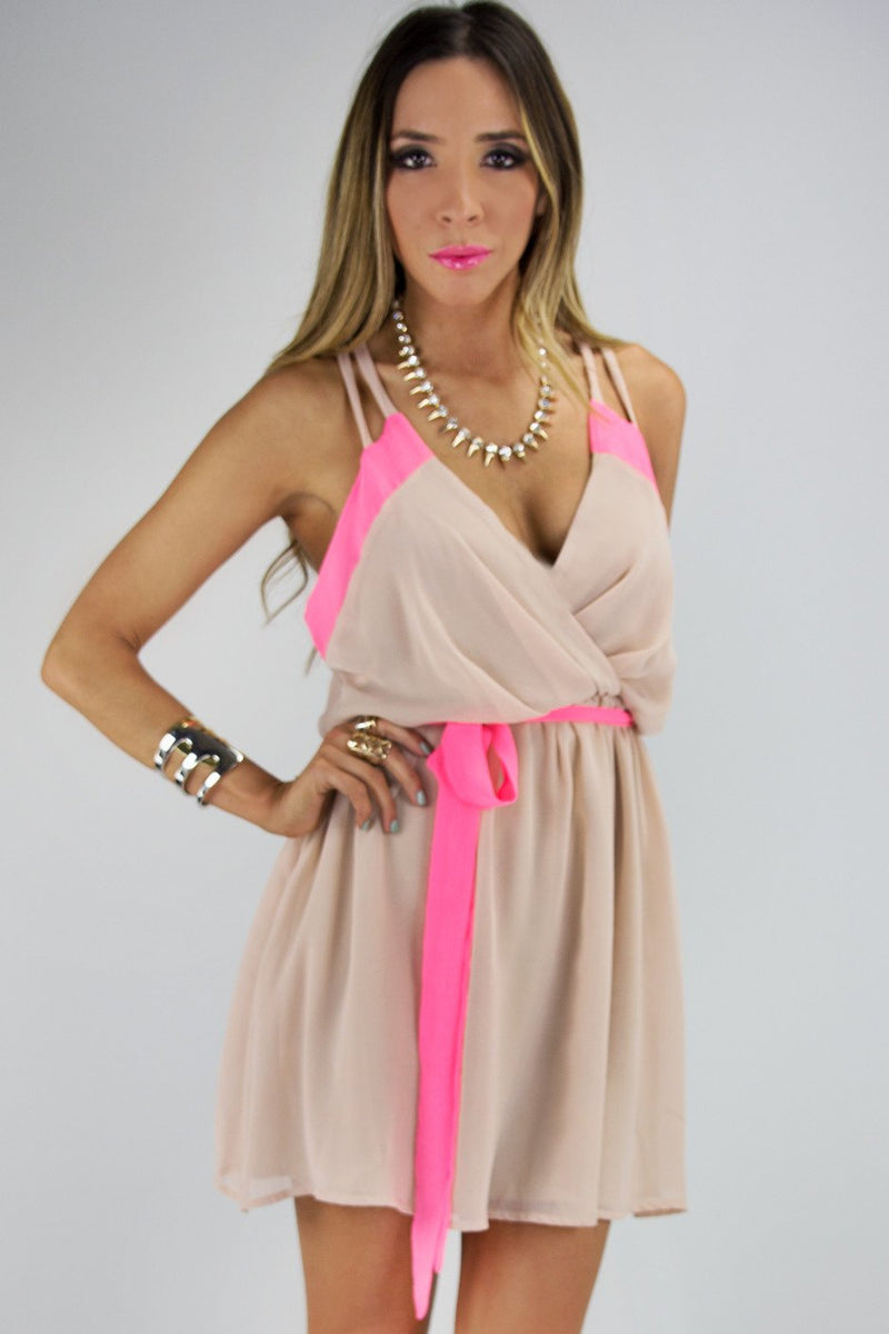 NEON BORDER CHIFFON DRESS - Haute & Rebellious